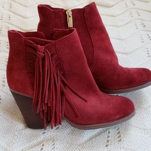 Vince Camuto Harlan fringed suede ankle bootie